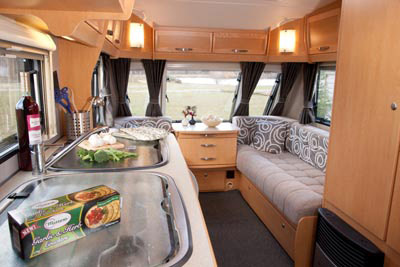 Kitchen area in the Elddis Avante