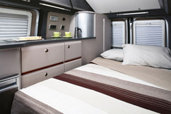 The Autocruise's bed set up