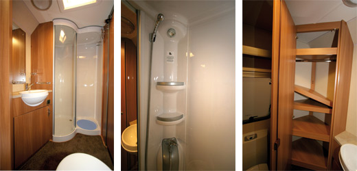 The washroom in the Swift Bolero