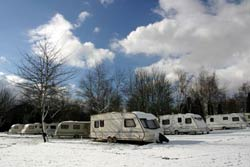 Caravans in the snow