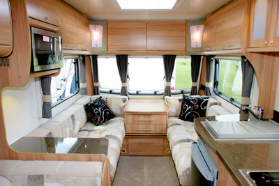 Bailey Olympus 2 front lounge with optional drawers