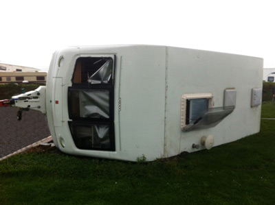 turned over caravan