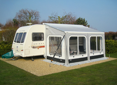 Caravan awning with tie down kit