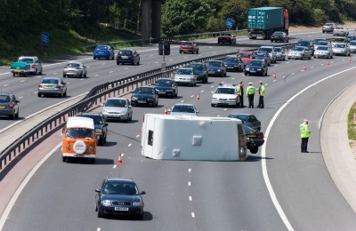 Motorway accident - caravan overturned on M27 causing delays
