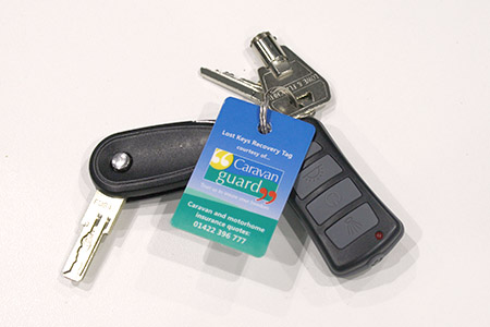 motorhome keychain with tag