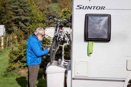 Electric bike rack on motorhome