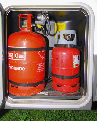 Propane gas in a motorhome locker
