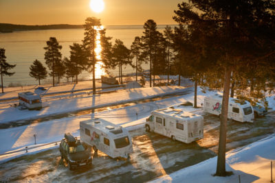 Winter caravanning in Sweden