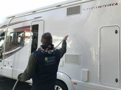Motorhome cleaning - rinsing down sides