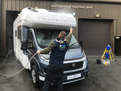 Rinsing down motorhome cleaning