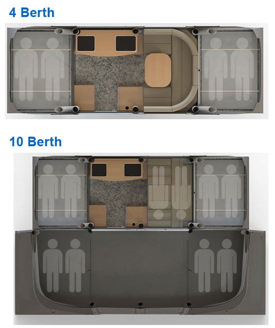 Opus Air Folding Camper Floor Plan