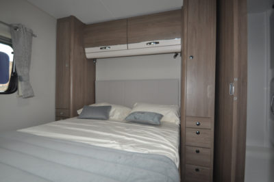 Compass Casita 860 bed and wardrobes