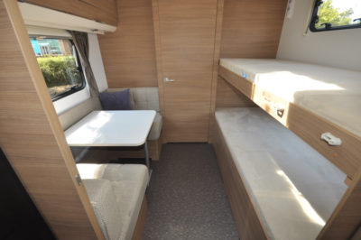 2019 Adria Adora 623 DT Sava caravan bunks and dining table