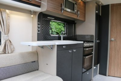 Swift Eccles 480 caravan kitchen from side