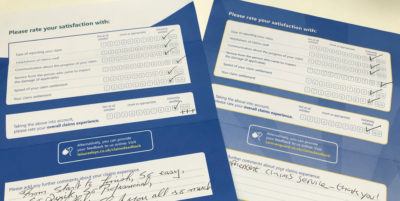 Claims satisfaction survey forms