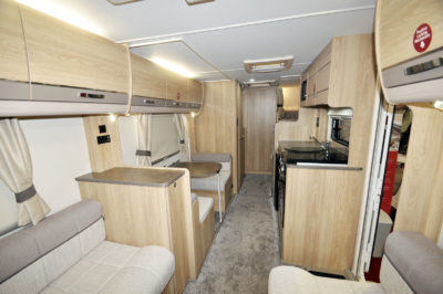 2019 Elddis Avante 586 lounge to kitchen