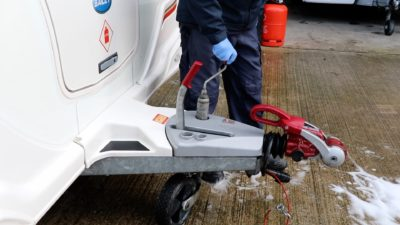 Caravan roof cleaning jockey wheel
